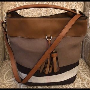 Burberry bucket brown leather tote